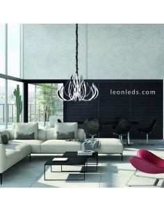 Lámpara de Techo LED Araña Versailles 256W 3000K Dimensiones regulable en altura cromada | LeonLeds Iluminación