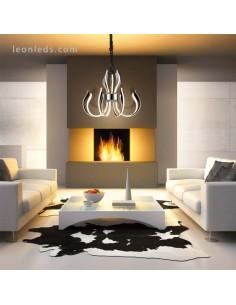 Lámpara de Techo LED Araña Versailles 155W 3000K foto de Dimensiones regulable en altura cromada | LeonLeds Iluminación