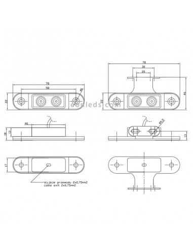 Luces Pilotos Laterales y Galibo LED con o sin soporte con conector Fristom FT015 12V 24V | LeonLeds