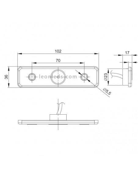 Piloto Lateral delantero o trasero LED y reflectante con soporte Fristom FT004 LED Rectangular | LeonLeds
